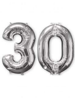 Aluminium-Geburtstagsballon Zahl 30 silber 66cm