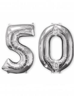 Aluminium-Geburtstagsballon Zahl 50 silber 66cm