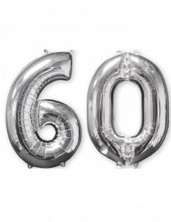 Aluminium-Geburtstagsballon Zahl 60 silber 66cm