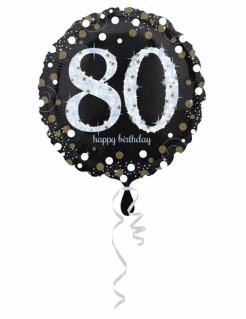 Folienballon 80 Happy Birthday schwarz