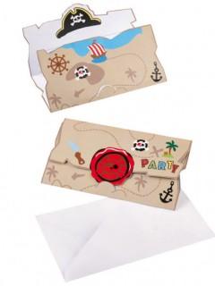 Piraten-Einladungskarten und Umschläge 16-teilig bunt