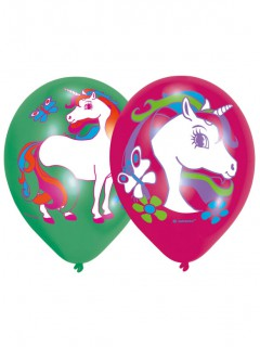 Einhorn-Luftballons Mädchengeburtstag-Deko 6 Stück grün-pink 27,5cm