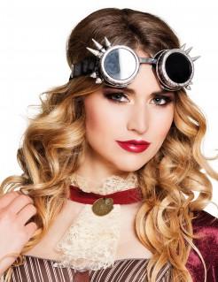 Steampunk-Fliegerbrille für Erwachsene - silberfarben