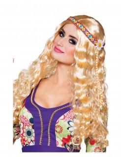 Lange Damenperücke Hippie mit Stirnband blond