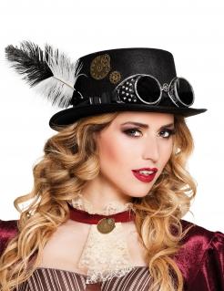 Steampunk Hut mit Zahnrädern und Federn für Erwachsene
