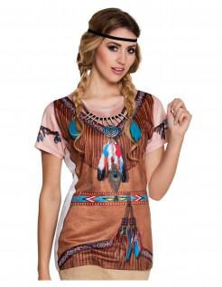 Damen T-Shirt mit Indianeraufdruck braun