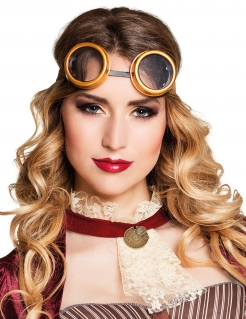 Steampunk-Brille Fliegerbrille orange