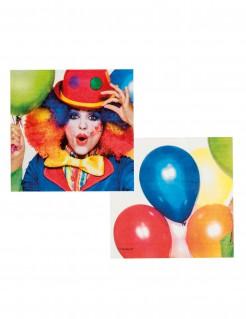 Clownsservietten Zirkusparty-Deko 12 Stück 33x33cm bunt