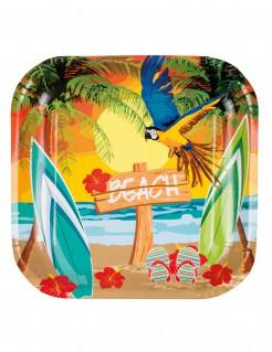 Karibik-Servierplatten Hawaiiparty-Deko 6 Stück bunt 23x23cm