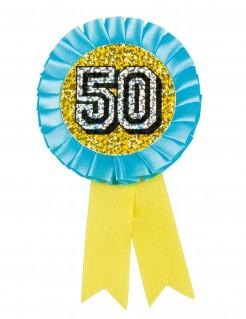 Geburtstagsmedaille Abzeichen Zahl 50 gelb-blau 9,5cm