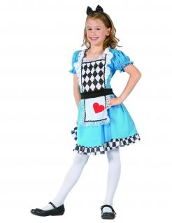 Bezaubernde Alice Märchenkostüm für Kinder blau-schwarz-weiss