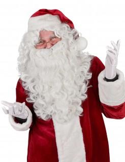 Weihnachtsmann-Perücke mit langem Bart weiss
