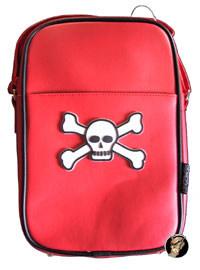 Totenkopf Halloween Handtasche rot-weiss