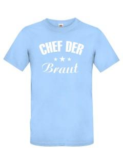JGA T-Shirt Chef der Braut hellblau-weiss