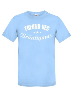 JGA T-Shirt Freund des Bräutigams hellblau-weiss