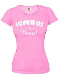 JGA Girlie Shirt Freundin der Braut rosa