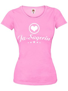 JGA Girlie-Shirt Ja-Sagerin rosa-weiss