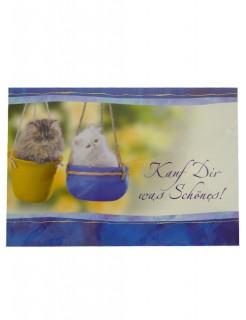 Geldgeschenk Grußkarte Katzenmotiv blau-gelb 11x17cm