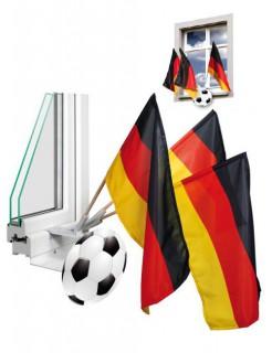 Deutschland-Fahnenset Hausschmuck Fussball-Fan-Artikel schwarz-rot-gelb 44x30cm