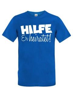 JGA T-Shirt Hilfe - Er heiratet! blau-weiss