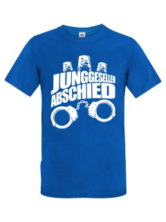 JGA T-Shirt Junggesellenabschied Handschellen und Sirenen blau-weiss