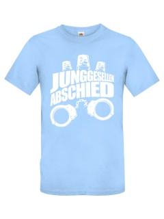 JGA T-Shirt Junggesellenabschied Handschellen und Sirenen hellblau-weiss