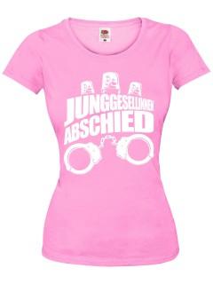 JGA Girlie Shirt Junggesellinnenabschied Handschellen und Sirenen rosa