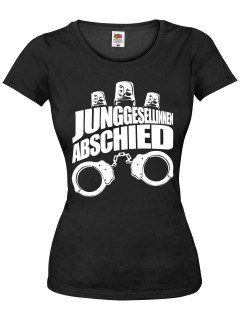 JGA Girlie Shirt Junggesellinnenabschied Handschellen schwarz-weiss