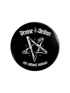 Vegan Button - Praise Seitan Eat without Violence schwarz-weiss 37mm