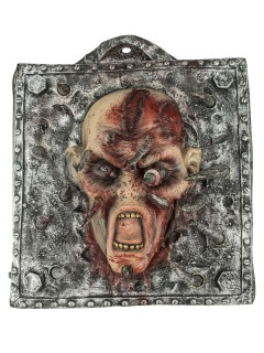 Aufgespiesster Kopf Halloween-Wanddeko haut-rot-metall 30x30cm