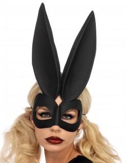 Hasen-Maske mit langen Ohren für Damen schwarz
