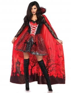Vampirin-Damenkostüm mit abnehmbarem Umhang