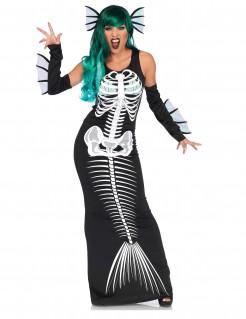Untote Meerjungfrau Halloweenkostüm für Damen schwarz-weiss