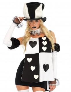 Sexy Spielkarten Bunny-Damenkostüm schwarz-weiss