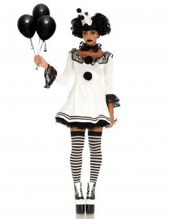Clownfrau-Damenkostüm schwarz-weiß