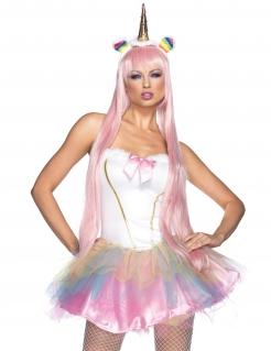 Sexy Einhorn-Damenkostüm weiss-rosa-bunt