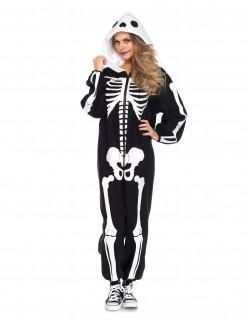 Schauriger Skelett Einteiler Halloween-Kostüm schwarz-weiss