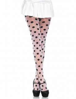 Strumpfhose mit Punkten für Damen Accessoire transparent-schwarz