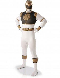 Zweite Haut Männerkostüm Power Rangers™ Herren-Ganzkörperanzug weiß