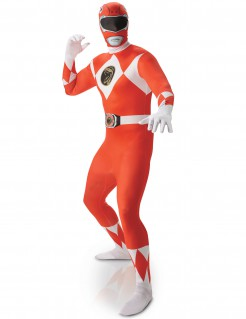 Power Rangers™ Second Suit Herrenkostüm rot-weiss