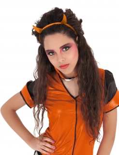 Teuflischer Halloween-Haarreif mit Hörnern Kostümaccessoire orange