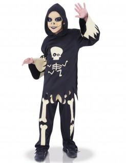 Skelett Halloween-Kinderkostüm für Jungen schwarz-weiss