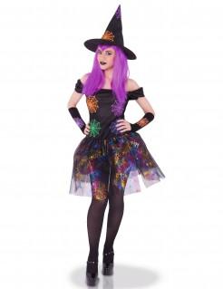 Spinnen-Magierin Halloween-Damenkostüm schwarz-bunt