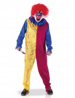 Blutrünstiger Psychoclown Halloween Kostüm für Herren bunt