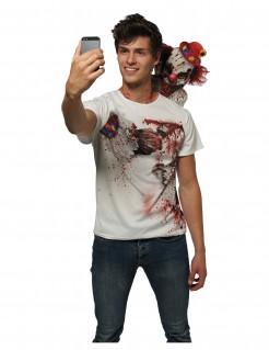 Mörderclown-T-Shirt Horrorclown-Halloweenshirt weiss-rot