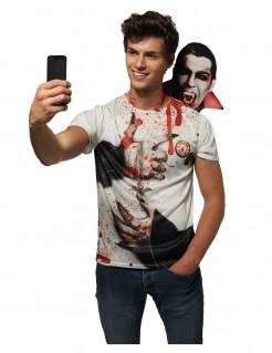 Halloween Selfie-Shirt Dracula weiss-rot