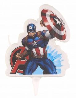 Captain America™-Geburtstagskerze Kuchendeko blau-weiss-rot 9,5x6,5cm