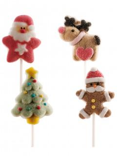 Marshmallow-Spieße Weihnachts-Süßigkeiten 4 Stück bunt