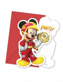 Micky Maus™-Einladungskarten und Umschläge Autorennen-Motiv 6 Stück