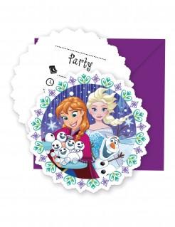 Einladungskarten mit Umschlag Die Eiskönigin™ 6 Stück bunt-violett